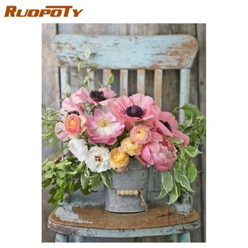 RUOPOTY  Painting By Number Flower In Vase Painting By Numbers Paint Flower DIY Canvas Picture Hand Painted Home Decoration