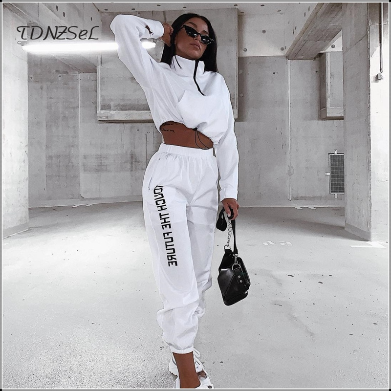Women White Casual Joggers 2 Two Piece Set Tracksuit Zipper Long Sleeve Outfits Crop Top And Pants Set Sport Letter Print Suit