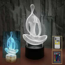3D LED Lamp Creative Night Lights Novelty Illusion Yoga Meditation Lamp For Bedroom Decor Touch switch or remote control options - DISCOUNT ITEM  30% OFF Lights & Lighting