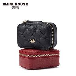 EMINI HAUS Diamant Gitter Lippenstift Tasche mit EINEM Spiegel Echtem Leder Mini Tasche Luxus Handtaschen Frauen Taschen Designer Damen Geldbörse