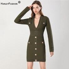 HarleyFashion Women Unique Sexy V-neck Long Sleeve Femal Sheath Knitting Solid Black & Army Green Stretchy Staight Dress