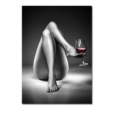Canvas Prints Nude Woman Wine Glass Painting Black White Sexy Girl Posters Wall Art Modern Pictures for Living Room Home Decor