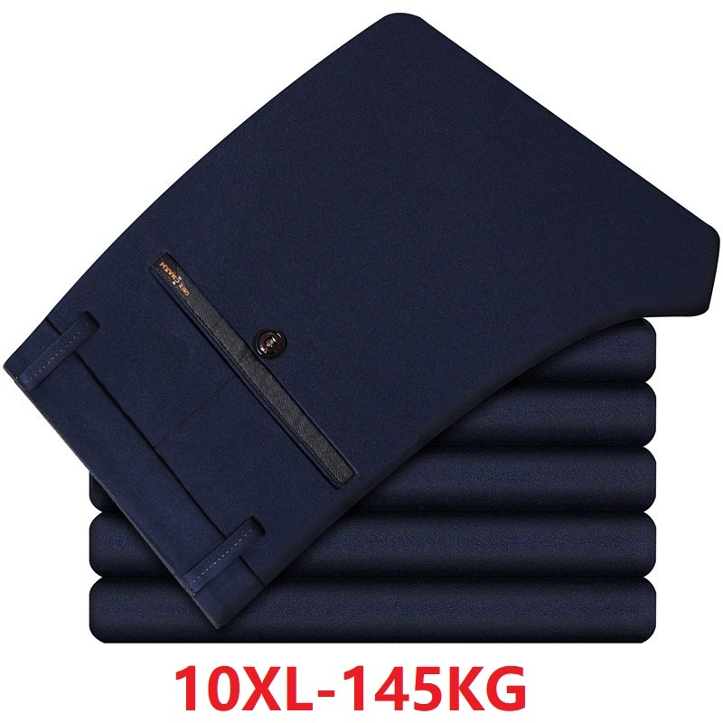 Summer Large Size Big 48 50 52 6XL 7XL 8XL 9XL 10XL Men Suit Pants Formal Straight Trousers Suit Pants Business Navy Blue Pants