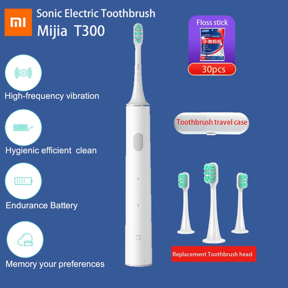 Original Xiaomi Mijia Sonic Electric Toothbrush Long Battery Life Mi T300 Tooth Brush High Frequency Vibration Magnetic Motor image