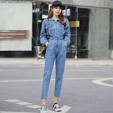 New Blue Bodycon Jeans Jumpsuit Women Elastic High Waist Rom