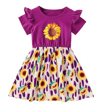 Baby Girls Clothes Summer Dress Baby Kids Boutique Clothing Sunflower Dress Girls Cotton Dress 1 2 3 4 5 Year Old Children 6p510 wholesale baby kids boutique clothing lots