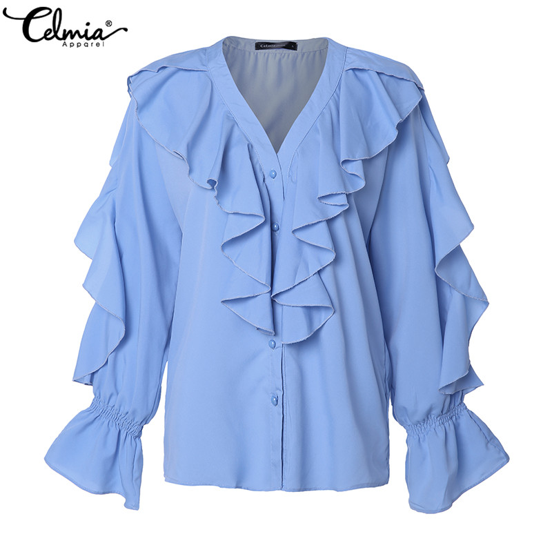 Celmia Women Sweet Ruffled Blouse 2020 Autumn V Neck Long Sleeve Female Casual Fashion Blue Shirt Stylish Tops Blusas Plus Size
