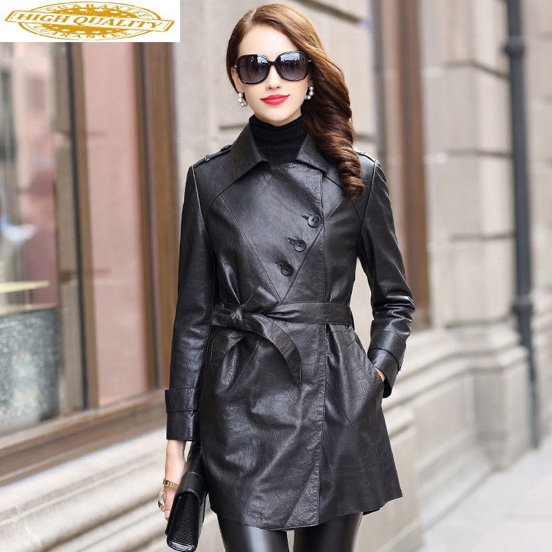 Real Leather Jacket Woman Spring 2020 Vintage Sheepskin Long Coat Female Jacket Korean Biker Jackets Chaqueta Mujer MY2514