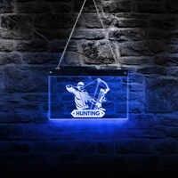 Chasseur LED enseigne au néon multicolore LED éclairage mur Art chasse mur signe pour Cool lumière homme Cave salle éclairer décoration
