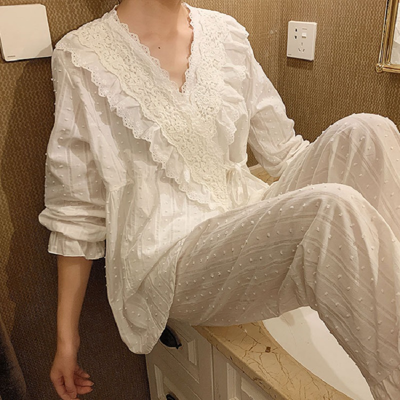 Spring Autumn Cotton V-neck Cardigan Women's Pajamas Sets Sweet Female Long Sleeve Kimono Pyjamas Loose Sleepwear Suits