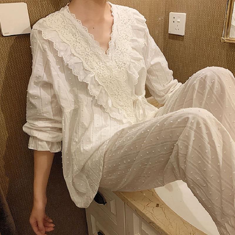 Spring Autumn Cotton V-neck Cardigan Women's Pajamas Sets Sweet Female Long Sleeve Kimono Pyjamas Loose Sleepwear Suits