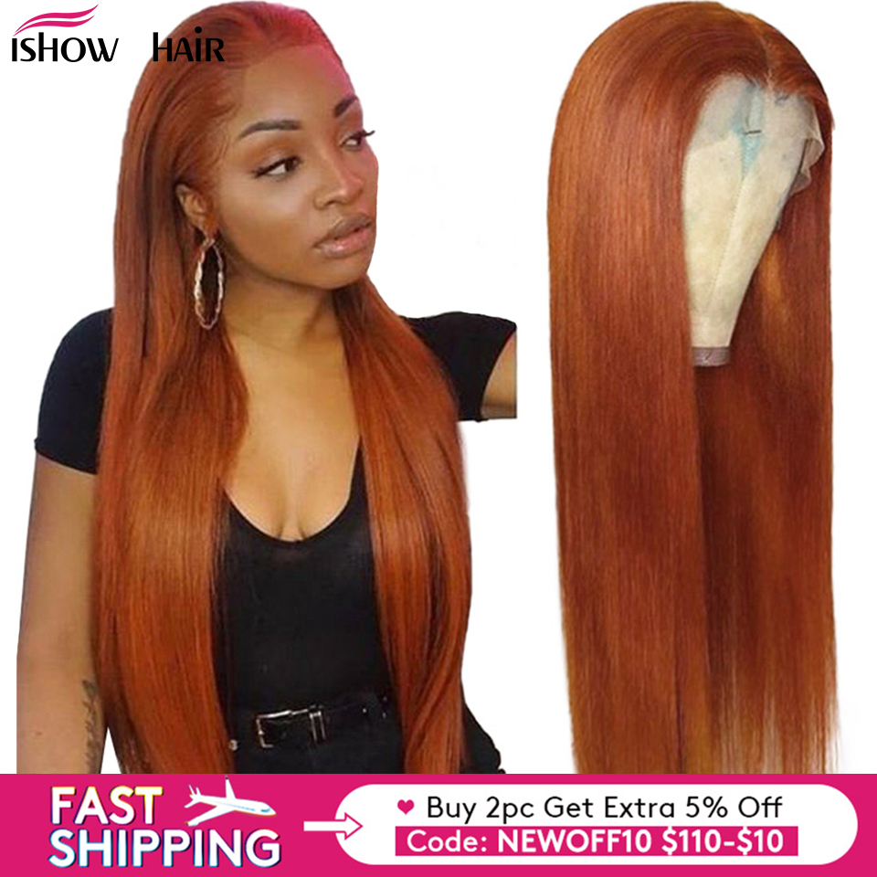 Ishow Hair Brazilian Straight Lace Front Wigs 150% Density Orange Ginger Color 13x4 Lace Front Remy Human Hair Wigs Pre Plucked