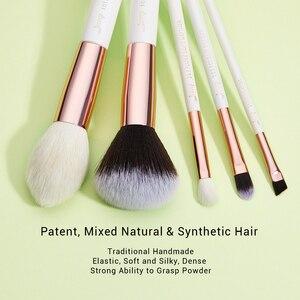 Image 2 - Jessup pinceaux de maquillage professionnel complet fond de teint poudre définisseur ombre eye liner mélangeur 15 pièces blanc / or rose