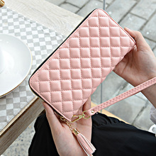 Female hand bag female new coin purse green leather long Korean version of soft ladies diamond pattern handbag