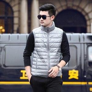 Image 5 - 2019 nouveau hiver blanc duvet doie gilet pour hommes automne chaud décontracté sans manches veste mâle lumière noir col montant manteau hommes WFY09