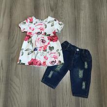 Nova chegada primavera/verão bebê meninas jeans capris crianças roupas boutique floral topo rosa quente flor denims crianças vestir