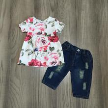 new arrivals spring/summer baby girls Jeans capris children clothes boutique floral top hot pink flower denims kids wear