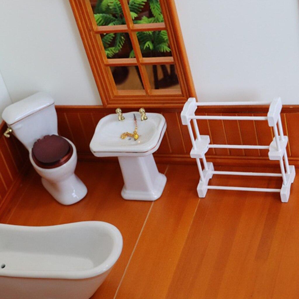 Hot 1:12 Dollhouse Furniture Miniature Towel Rack Bath Room Kids Pretend Toy 813