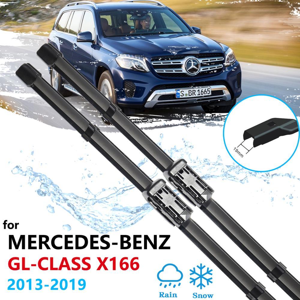 Carro Wiper Blades para Mercedes-Benz Classe GL GLS X166 2013 ~ 2019 Frente Brisas Acessórios Do Carro 2014 2015 2016 2017 2018