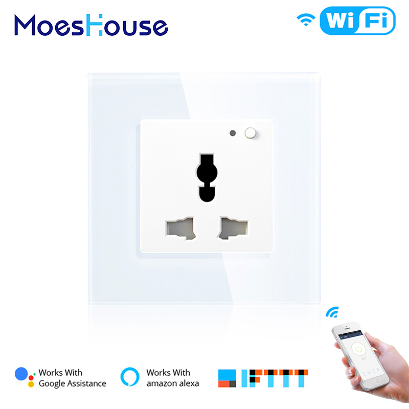 Universal WiFi Smart Wall Socket 13A Outlet Glass Panel French  APP Remote Control Works With Amazon Echo Alexa Google Home