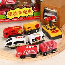 Пульт дистанционного управления Rc электрический игрушечный поезд набор с деревянная рейка пульт дистанционного управления игрушка детский электрический игрушечный поезд Забавный подарок