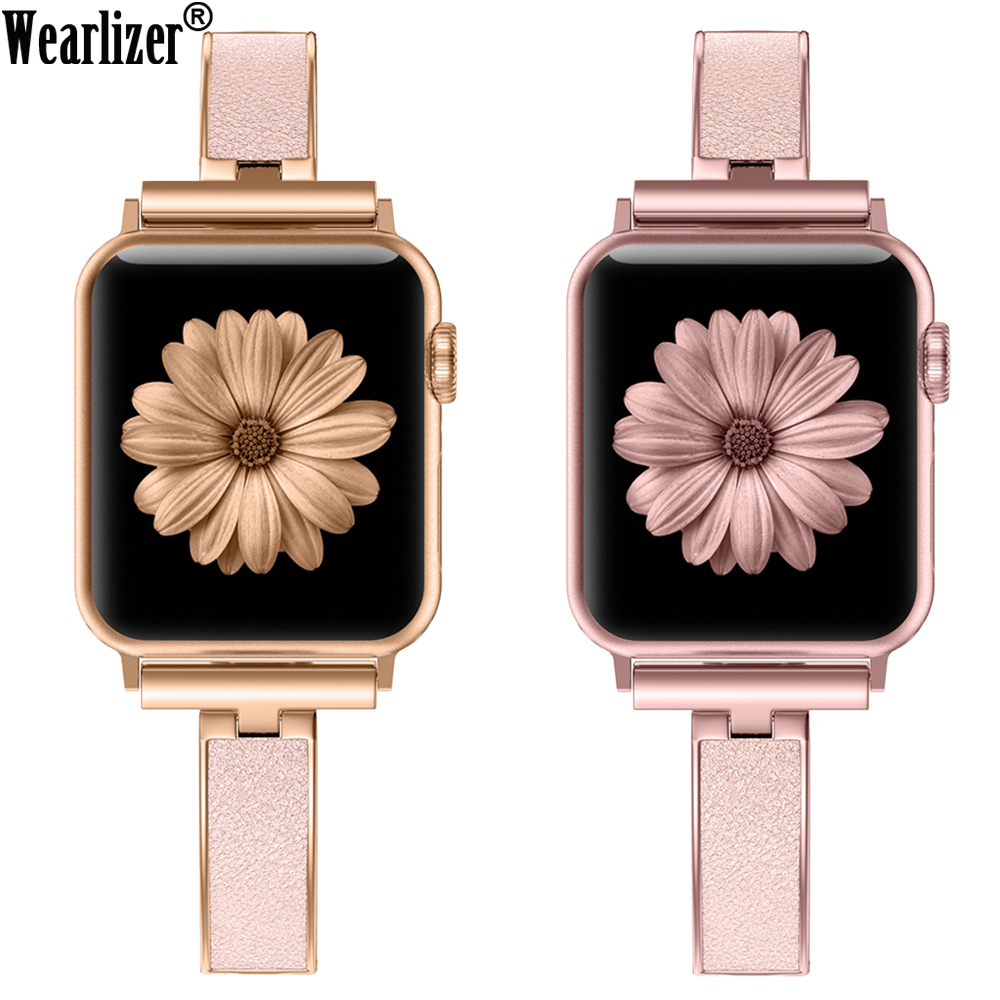 Women Metal Strap For Apple Watch Bands Series 5 40mm 44m Link Metal+Leather Bracelet Band For IWatch Series 4 3 2 1 38mm 42mm