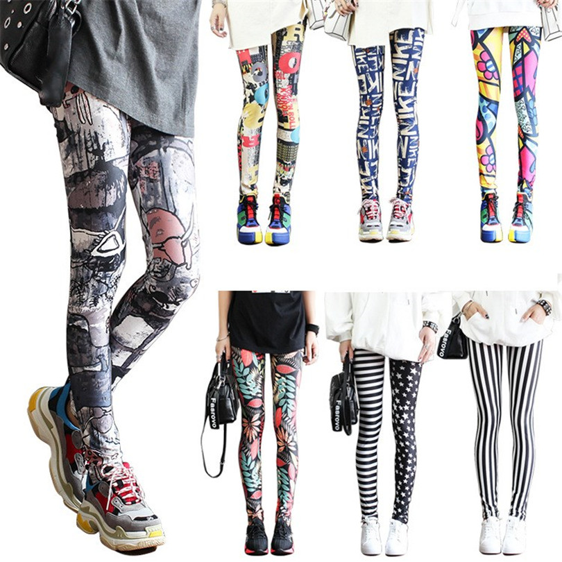CUHAKCI Leggings Women Colorful Digital Print Sexy Leggings Stretch Workout Push Up Trousers Fitness Pants Plus Size Legging
