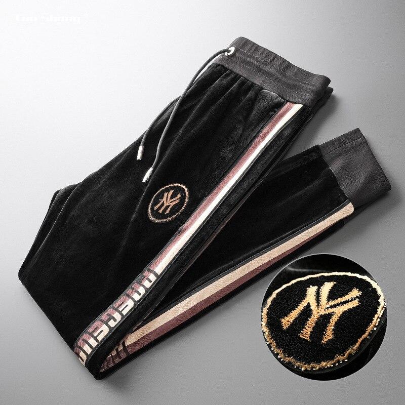 2019 hommes velours survêtement pantalons nouveaux vêtements cordon sport pantalons hommes haute couture côté rayure concepteur survêtement s Calca Masculina
