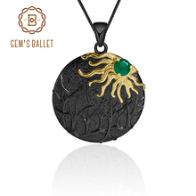 GEM'S балет натуральный зеленый агат, натуральный камень ювелирные изделия 925 пробы серебро ручной работы солнце лес Винтаж кулон ожерелье для женщин