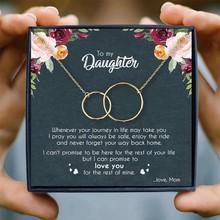 Mãe filha colar mulher dois intertravamento infinito círculos pingente colares presentes de aniversário da mãe jóias natal