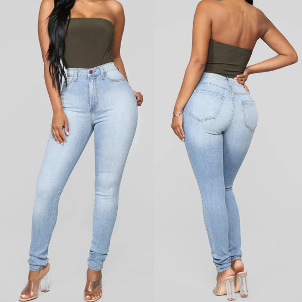 Fashion Women jeans Button High Waist Casual Skinny Slim Denim Boyfriend jeans for women Trousers Pencil Pants Jeans Mujer S10