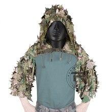 Rocotactical respirável sniper ghillie capa com corte a laser 3d folhas, leve ghillie terno, capa viper para airsoft, caça