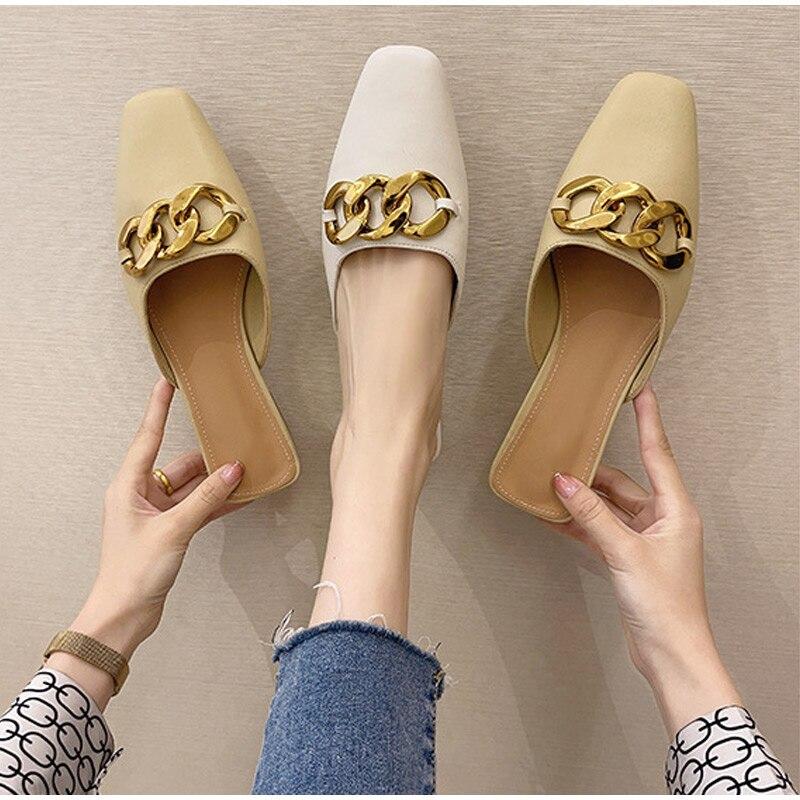Женские уличные шлепанцы Muller на плоской подошве, модные сандалии, новинка 2021, модные шлепанцы с открытым носком, модная женская кожаная обув...