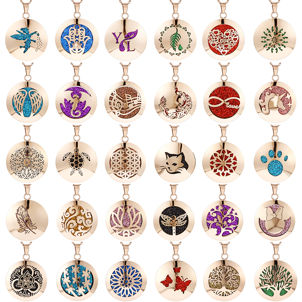 Aromatherapy Essential Oil Diffuser Locket Necklace (99)