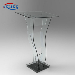 Cheap Classic Specific Use Acrylic Laptop Stand Aklike White Glass Podium Victory Stand Digital Podium With Drawer