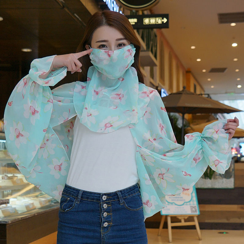 Proteção de Manga Longa ao ar Máscara de Pára-sol Conjunto de Duas Nova Moda Protetor Solar Xale Feminino Verão Pescoço Livre Fino Cachecol Peças