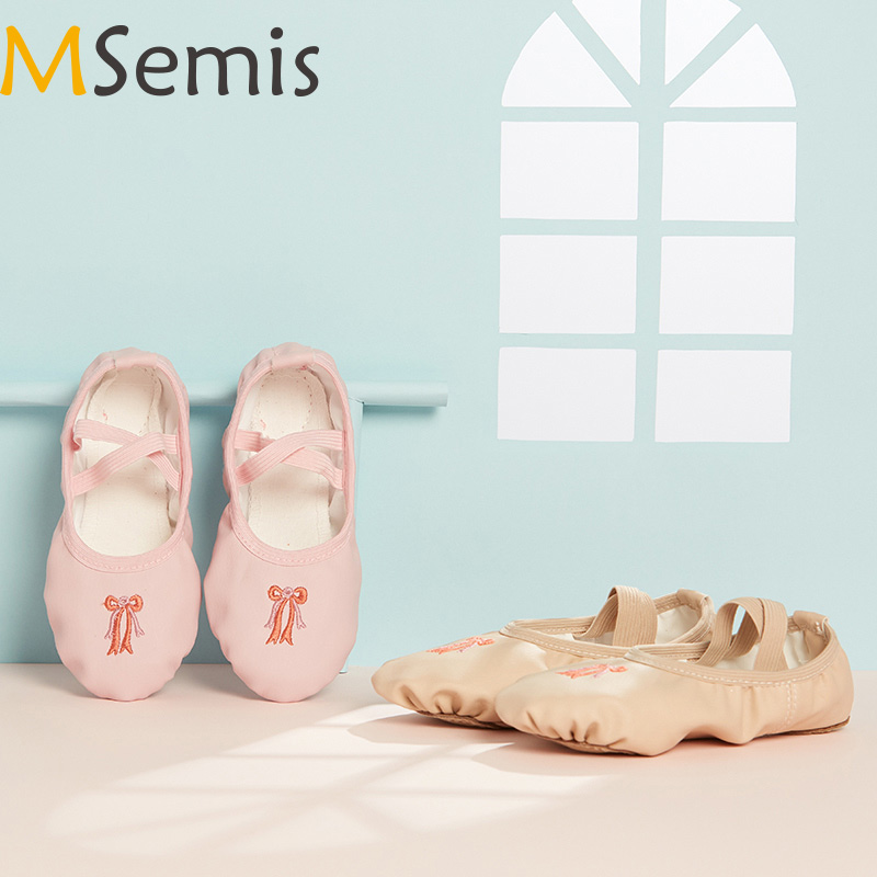 MSemis Kids Girls Ballet Dance Shoes Slippers Split Sole Flats Gymnastics Leotard Performance Dance Shoes Lightweight Costumes