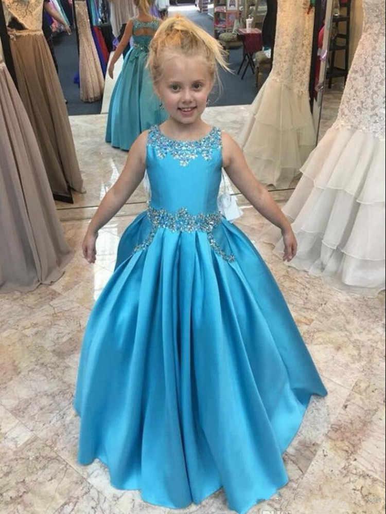 Синие Платья с цветочным узором для девочек; атласные нарядные платья без рукавов; платья для девочек на день рождения; платья для свадьбы; милое детское платье для причастия