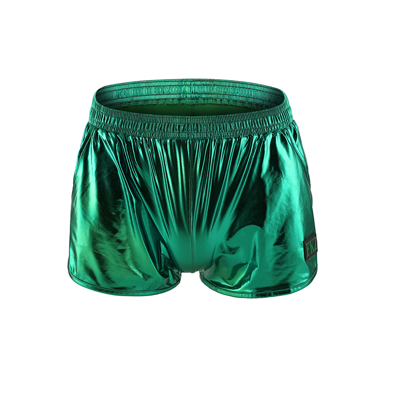 Underwear Men Boxer Shorts Trunks Sexy Faux Leather Loose Inner Ice Silk Mens Underpants Comfortable Boxers Homme With Pocket