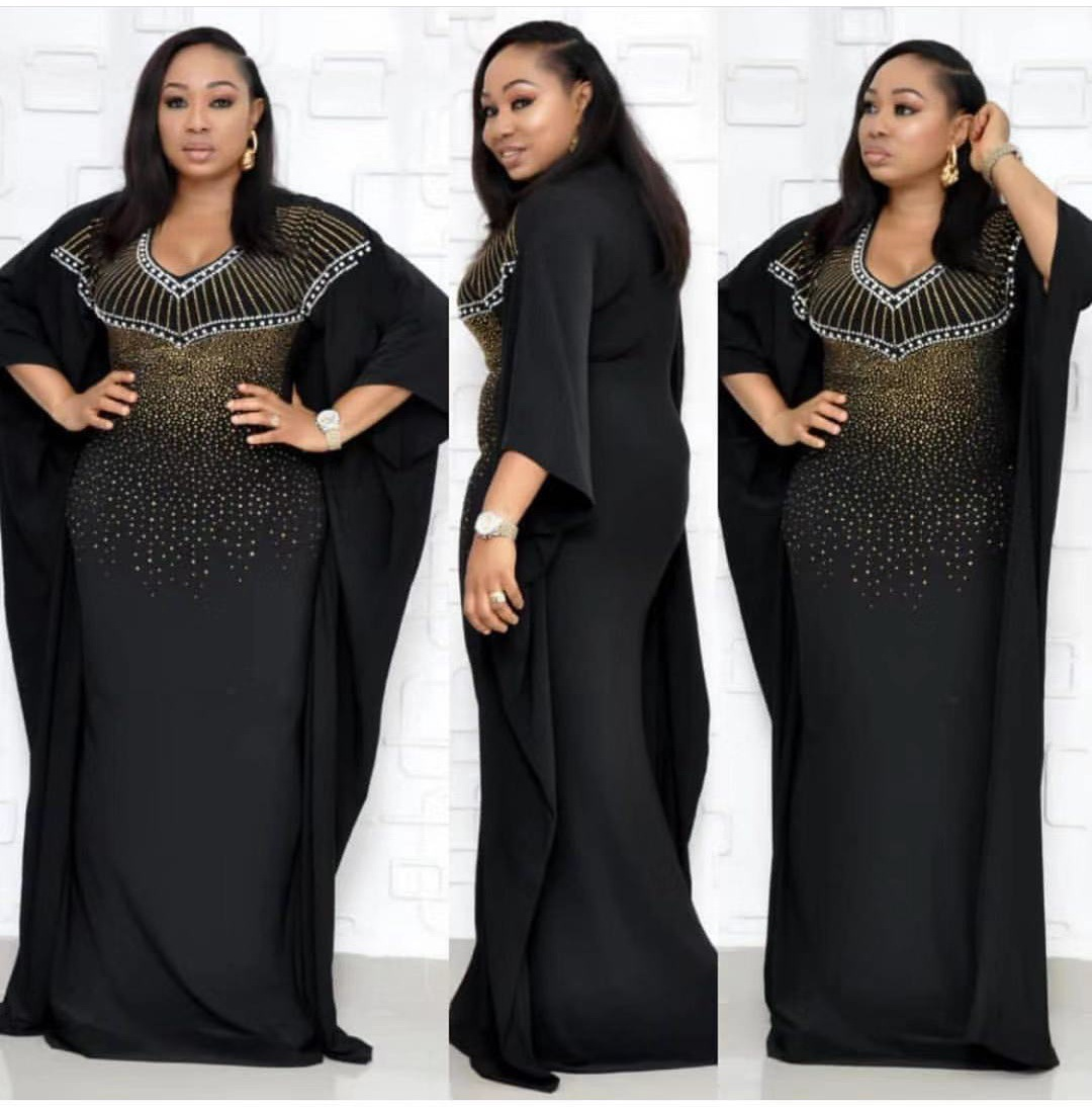 2019 New Elegent Fashion Style Summer And Autumn African Women V-neck Plus Size Long Dress L-3XL