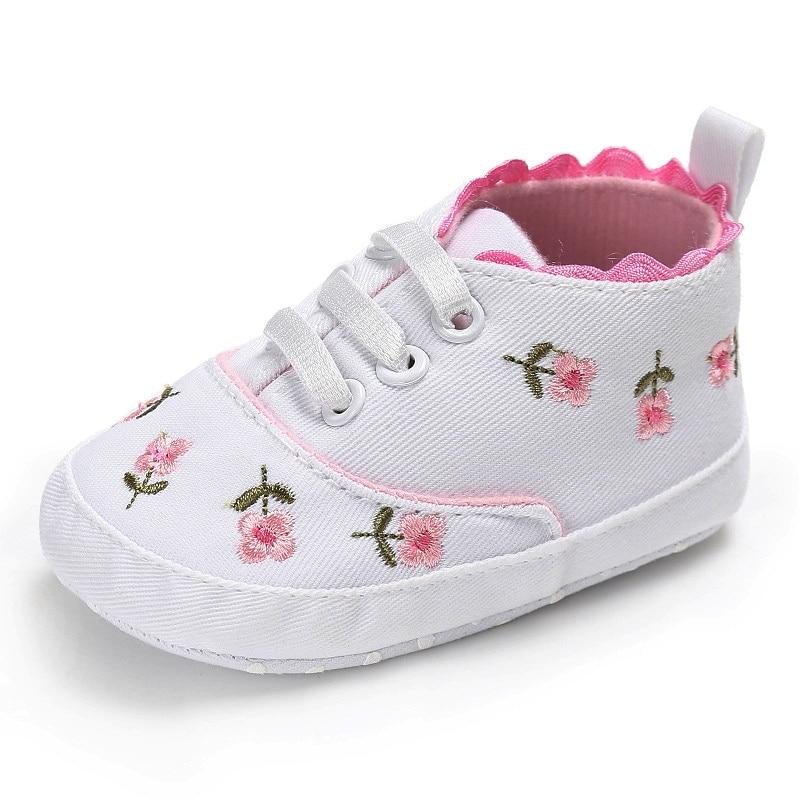 0-18 mois premiers marcheurs enfant en bas âge bébé fille Floral brodé chaussures souples pour nouveau-né chaussures de marche