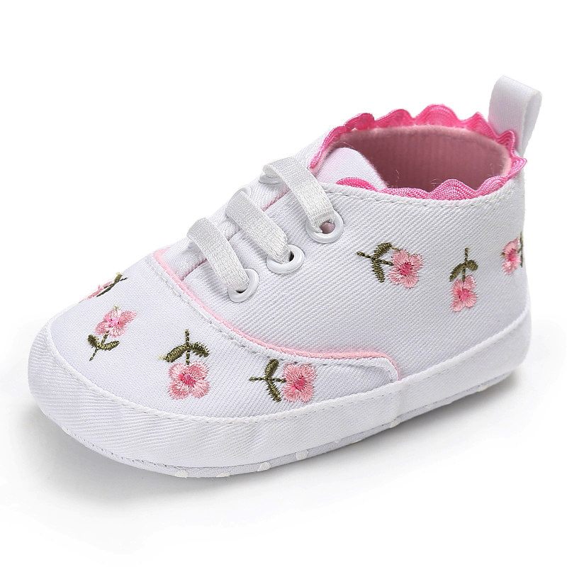 0-18 Months First Walkers Toddler Kid Baby Girl Floral Embroidered Soft Shoes For Newborn Walking Shoes