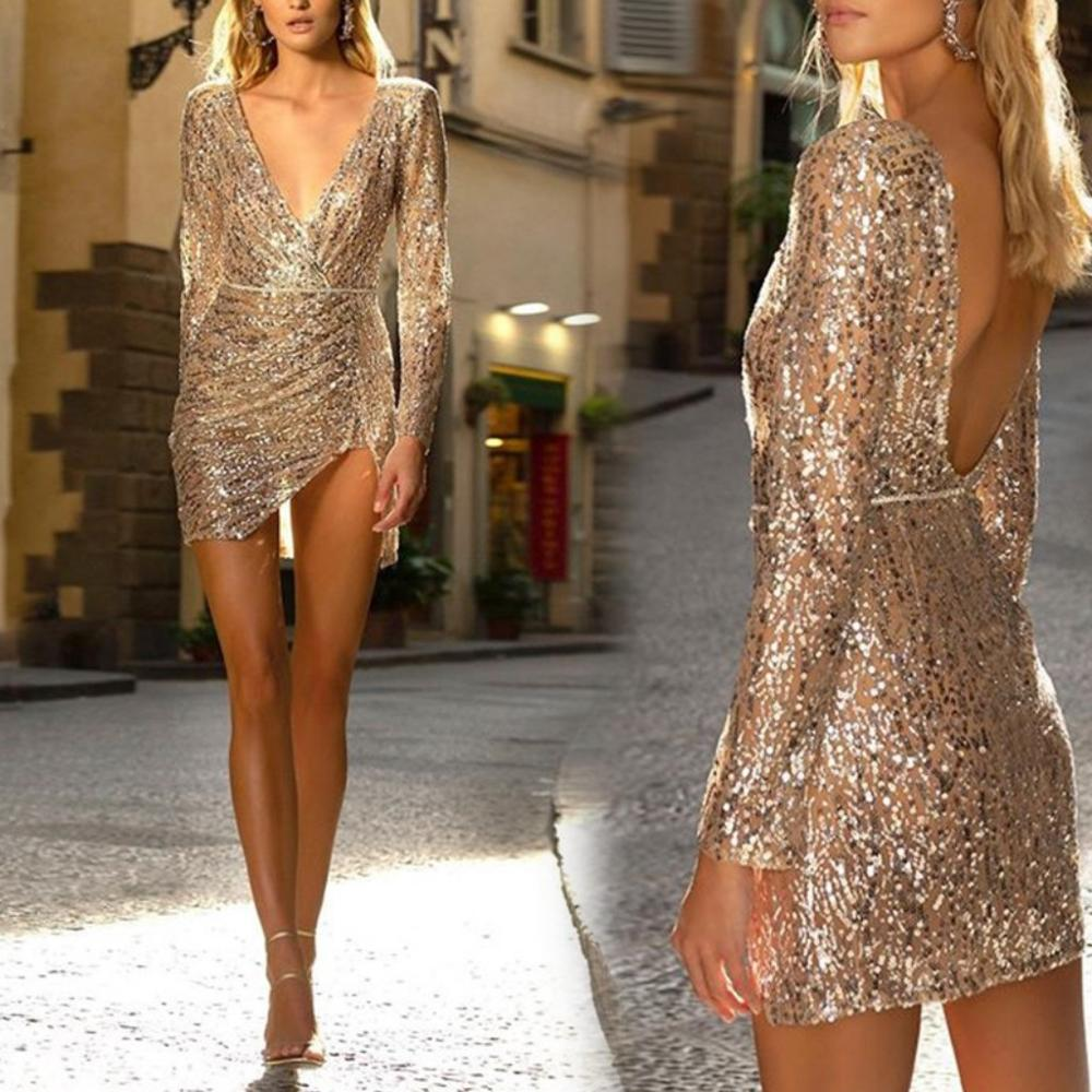 Gold Sequins Cocktail Dresses Long Sleeves Deep V Women Backless Sexy Party Dress Gown Homecoming Dress ESAN343