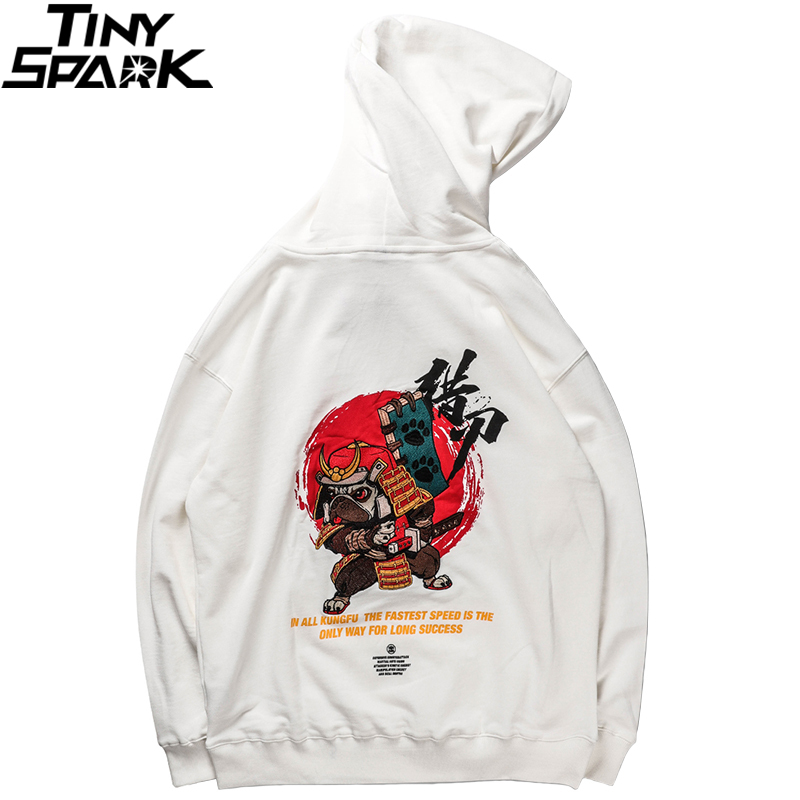 Image 3 - Men Hip Hop Hoodie Sweatshirt Embroidered Dog Samurai Streetwear 