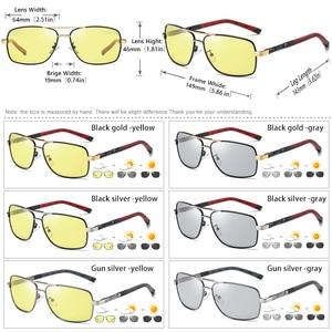 Image 5 - 正方形サングラス男性偏光フォトクロミックデイナイト安全運転サングラス女性 hd スクエア眼鏡 gafas デ · ソル hombre