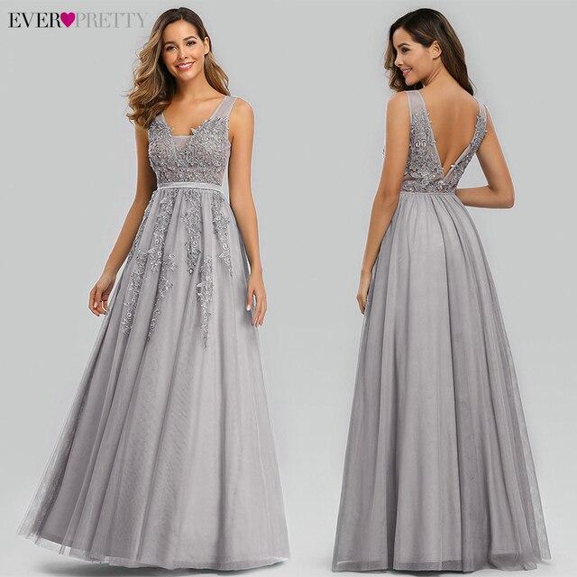 Prom Dresses Long 2020 Ever Pretty Elegant Long V-neck Tulle Lace Applique Sleeveless A-line Hot Selling Vestidos De Graduacion 3