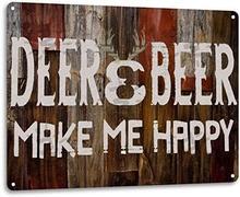 Anjoes veados cerveja me fazer feliz retro engraçado caça cabine decoração da parede metal estanho sinal 8x12in