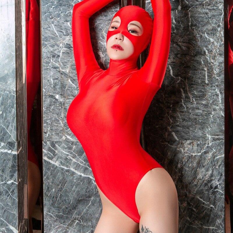 Women Oil Glossy Zipper Open Bodysuit Black Red Masked Cat Girl Half Coat Cosplay Stretchable 2 Way Zipper Bodysuit With Mask