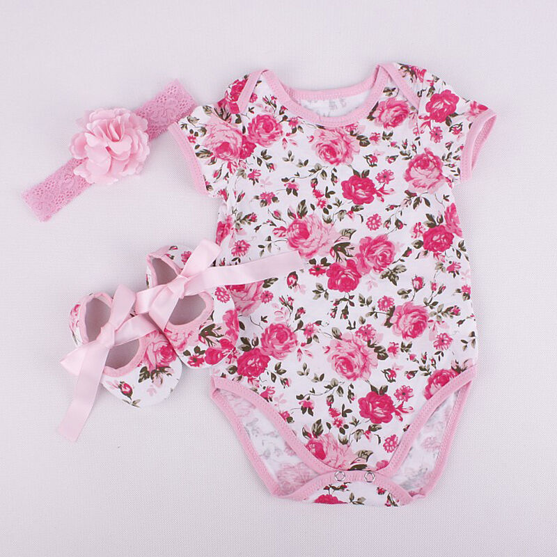 2020 Newborn Baby Girl Romper Jumpsuit Shoe Hairband 3Pcs Floral Leopard Outfits Set Clothes Summer Newborn Baby Girl Clothes