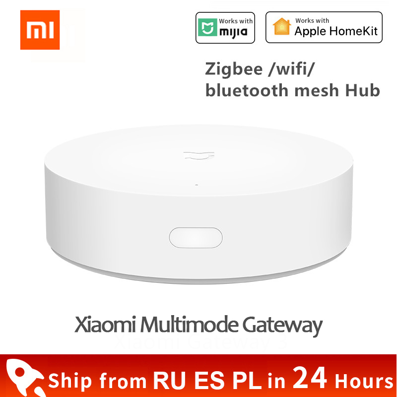 Xiaomi Smart Multifunctional Gateway 3 Bluetooth Zigbee WiFi Remote Control RGB Radio Home Security Device Support Apple Homekit